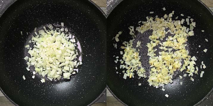 frying onions in oil