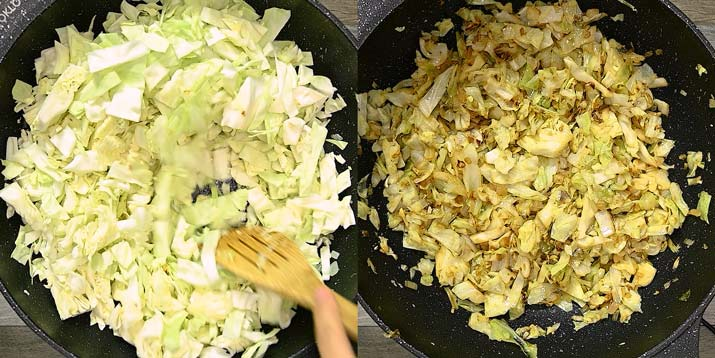 adding cabbage and cooking