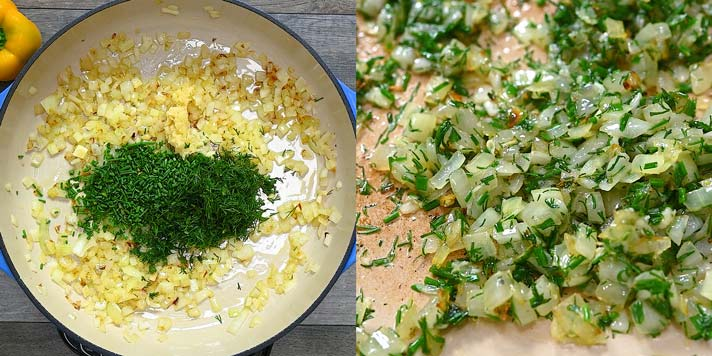 adding herbs to the onion