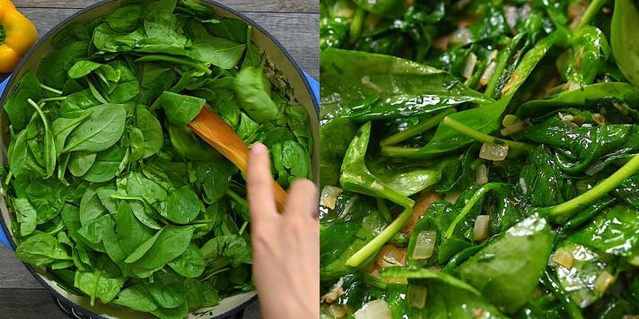 adding the spinach