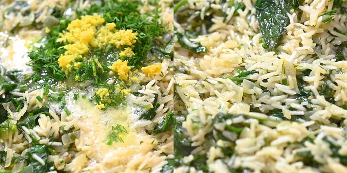 adding lemon juice, lemon zest, and fresh dill