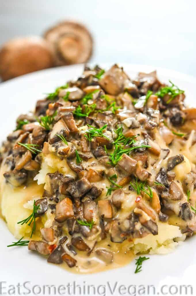 Mushroom Sauce poured over mashed potatoes