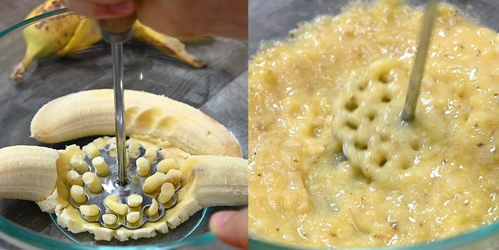 mashing the bananas in a bowl