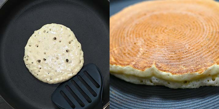 frying the pancakes on a skillet