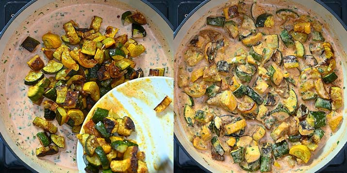 adding the roasted zucchini to the sauce
