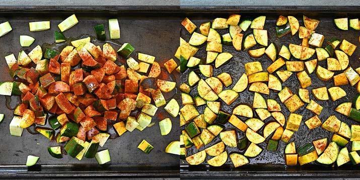 zucchini with seasonings on a roasting pan