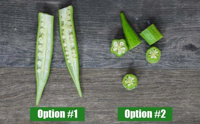 different ways to cut okra