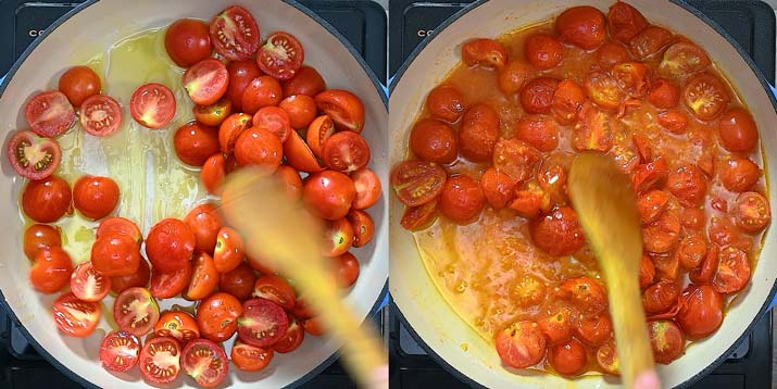 cooking tomatoes until juices release