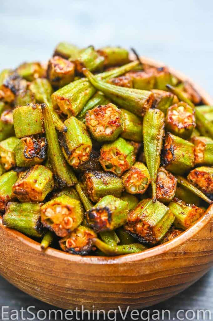 roasted okra in a bowl