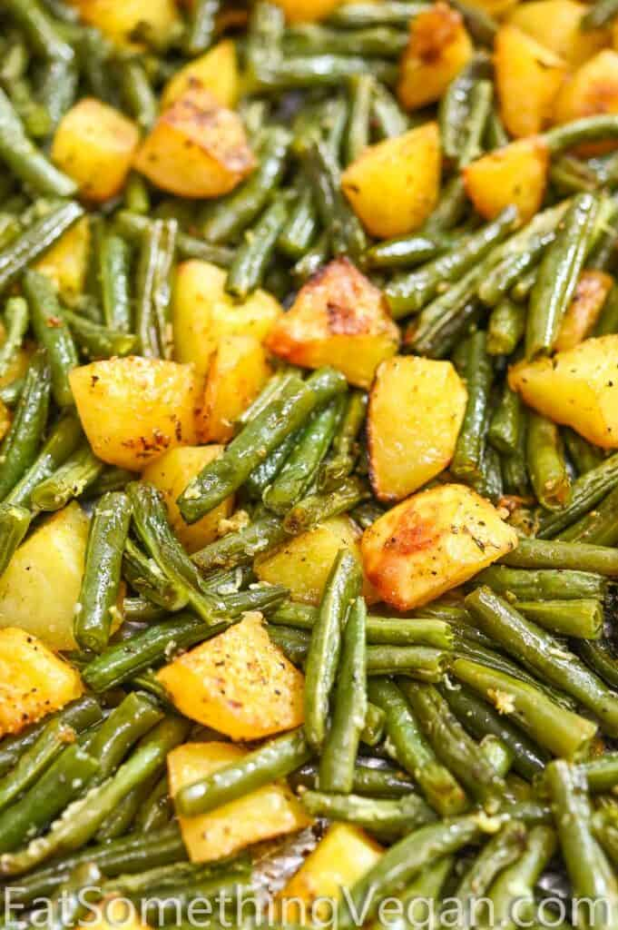 Potatoes and Green Beans on a tray
