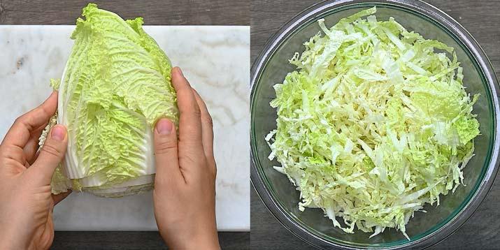 shredding Napa cabbage for the salad