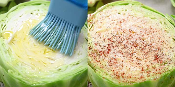 brushing cabbage with olive oil