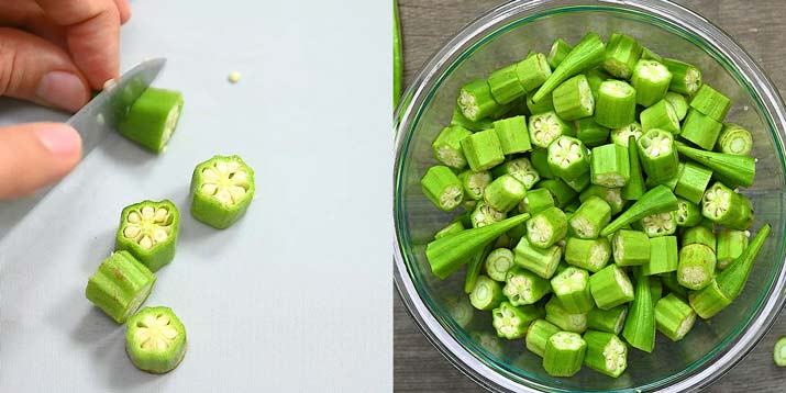 cutting okra into pieces