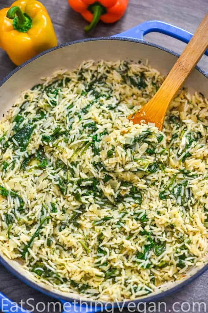 Spinach Rice in the skillet