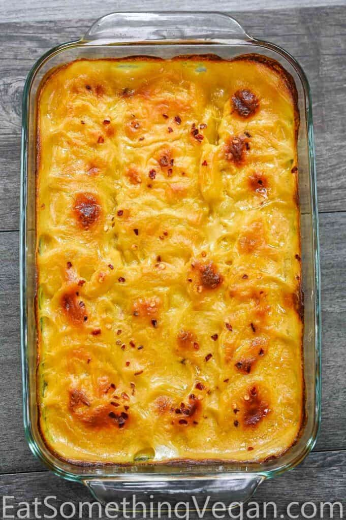 baked Vegan Scalloped Potatoes in a tray