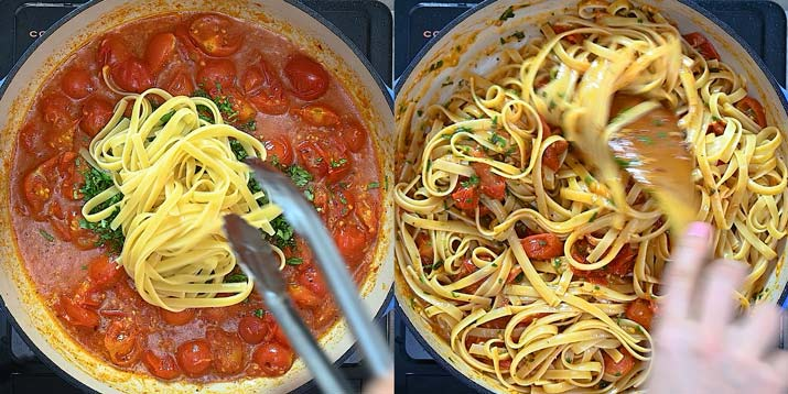 adding herbs and fettuccine to the sauce