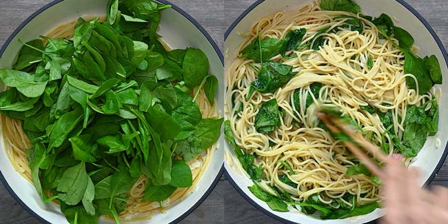adding spinach to the pasta