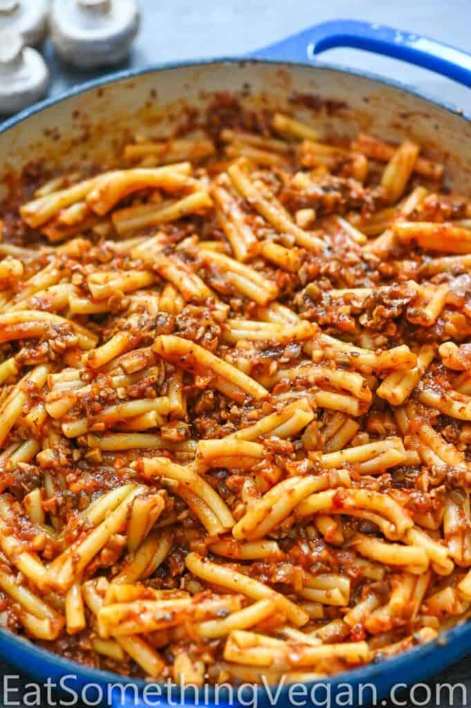 Mushroom Bolognese Pasta in the skillet