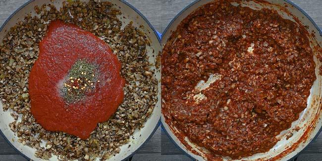 adding tomato sauce