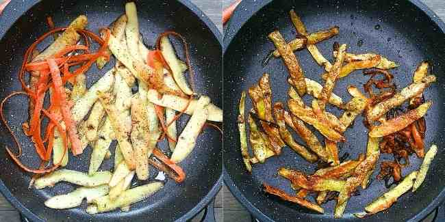 Placing Oil, Potato and Carrot Peels into skillet and Frying until golden.