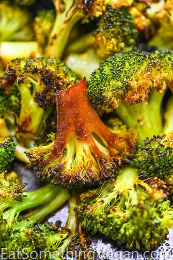 Simple Roasted Broccoli Close Up.
