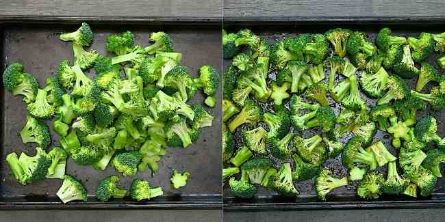 Placing the Broccoli onto Baking Sheet and Pouring Soy-Sauce Mixture over it.