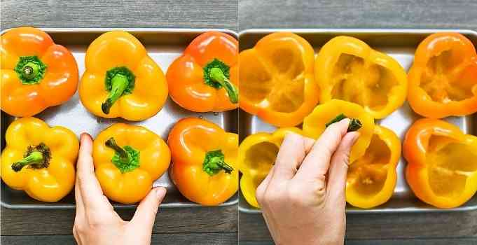 cutting holes in peppers