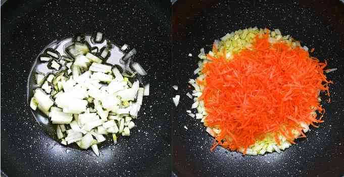 cooking onion and carrots