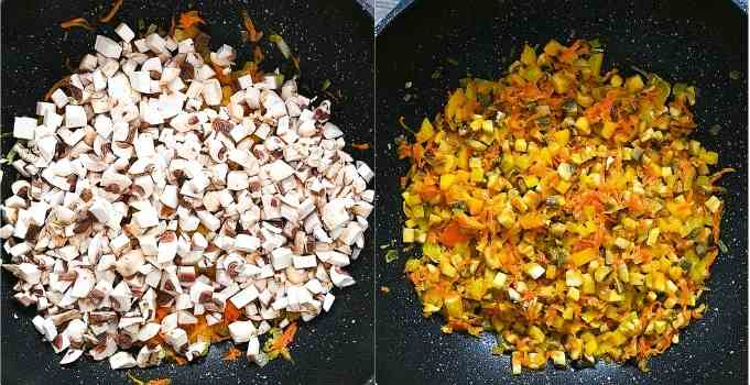 cooking peppers and mushrooms