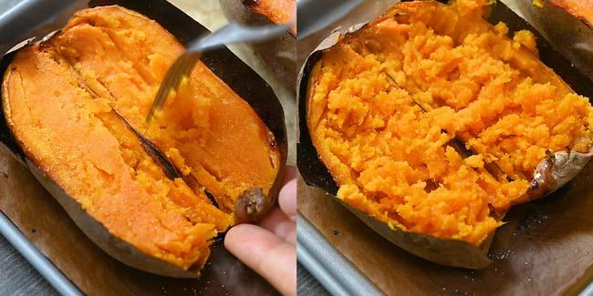 mashing the sweet potato into puree