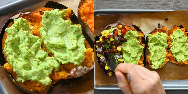 adding guacamole and black bean salsa to sweet potatoes