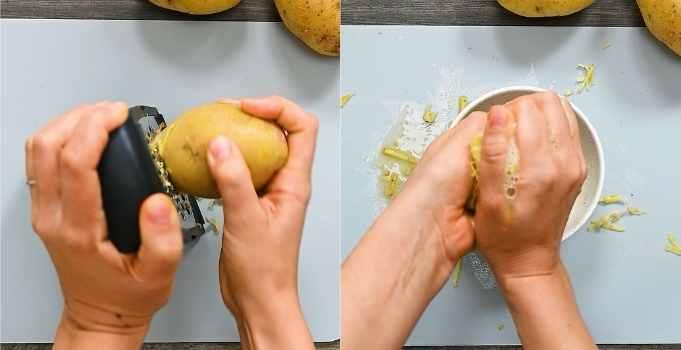 shredding the potatoes