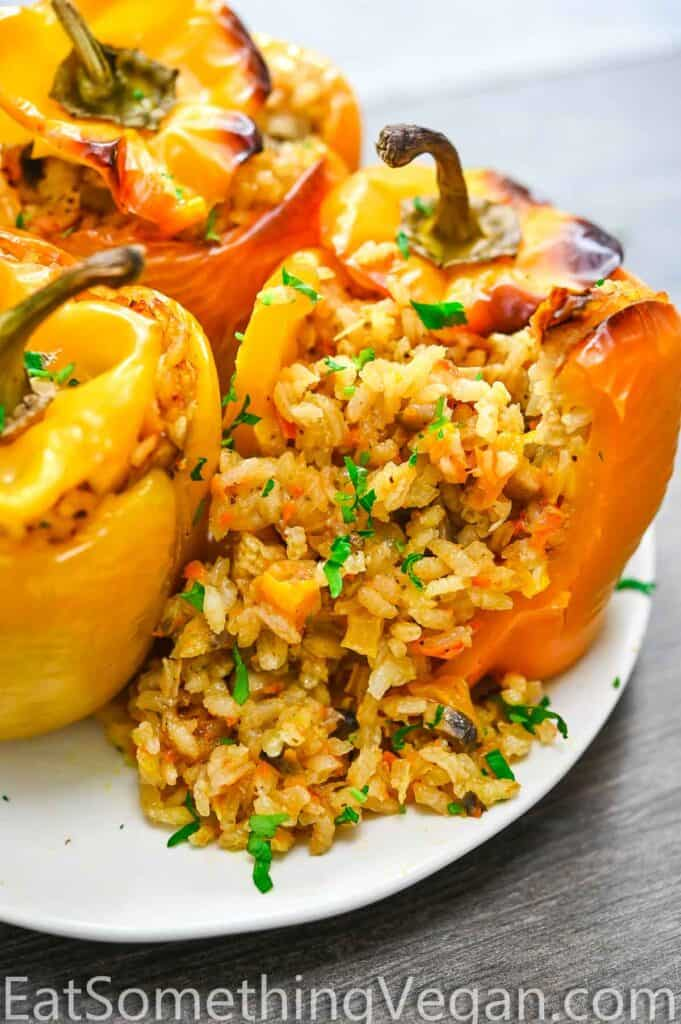 Vegan Stuffed Pepper cut open