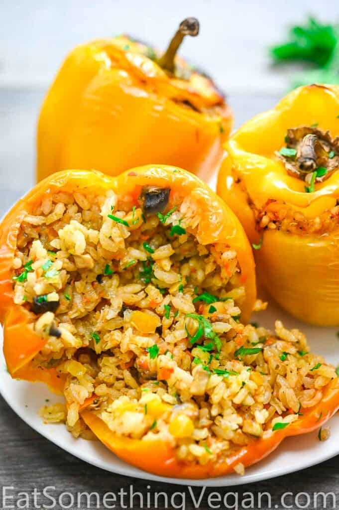 Vegan Stuffed Peppers on a plate