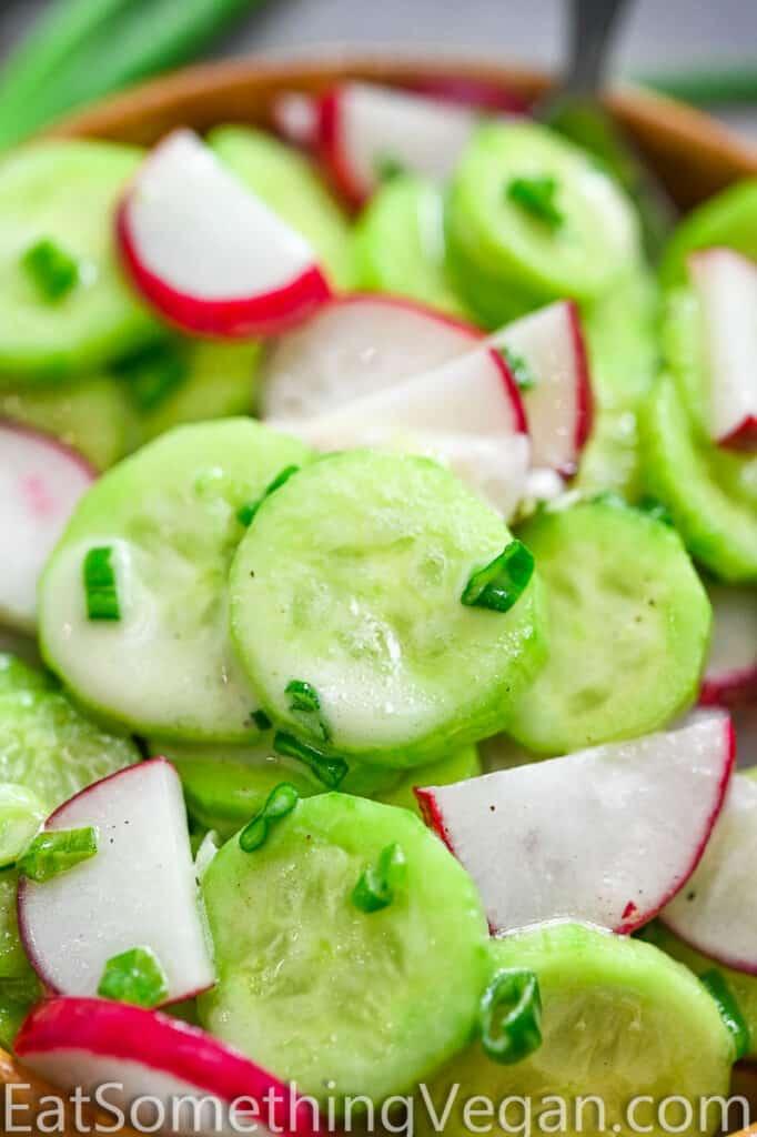 Creamy Cucumber Salad close up shot