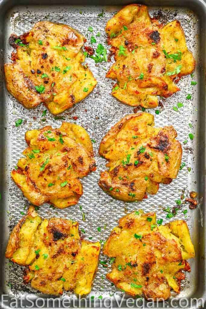 Smashed Potatoes on a tray