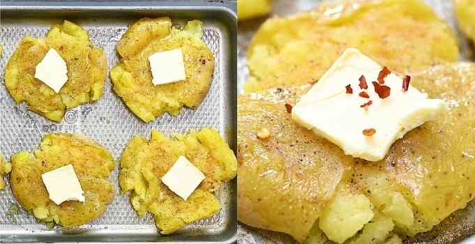 placing butter onto the potatoes