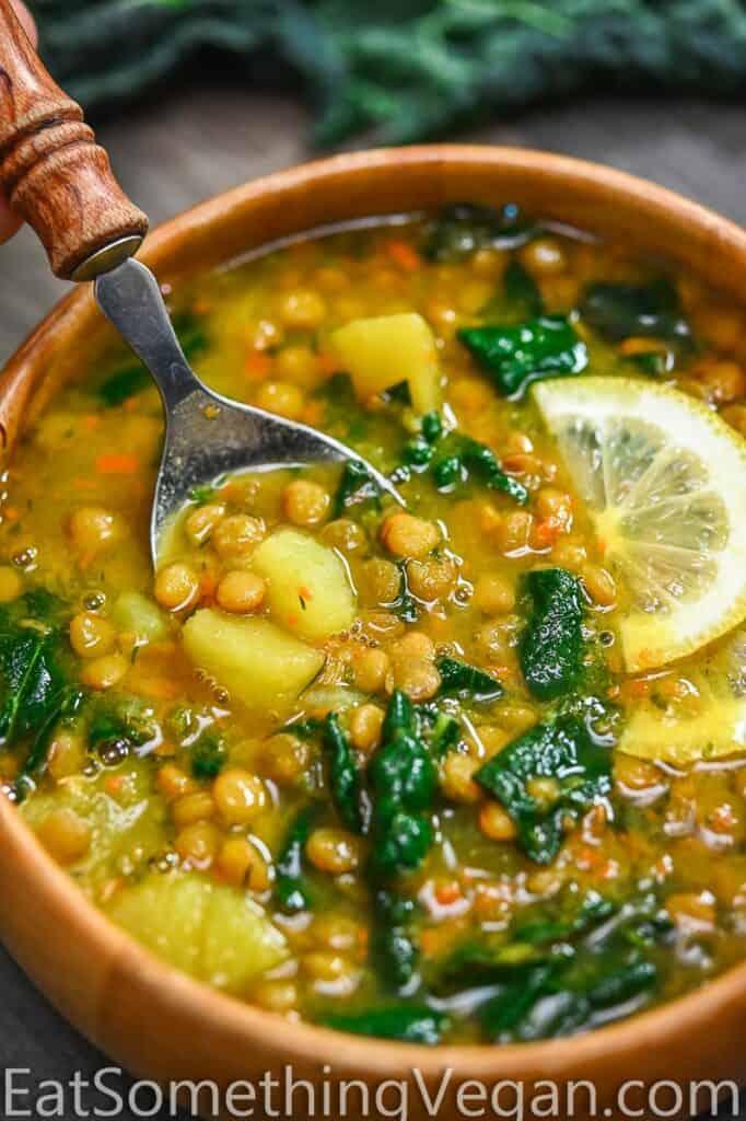 Lemon Lentil Soup on a Spoon
