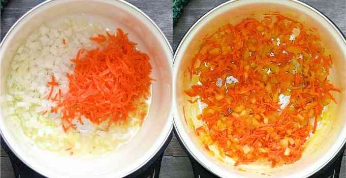cooking the onions and carrots