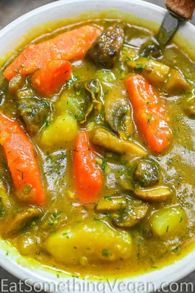 mushroom stew close up shot