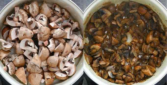 cooking mushrooms and onions