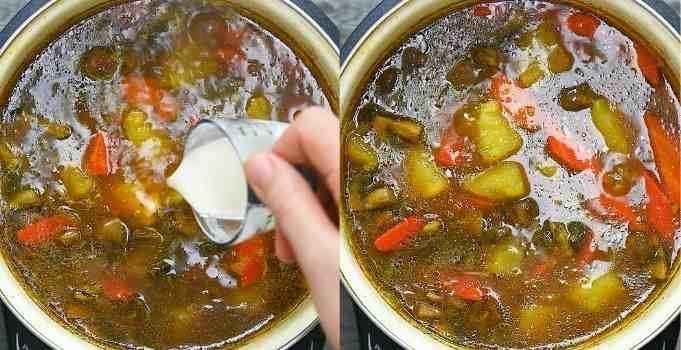 adding flour slurry to the stew