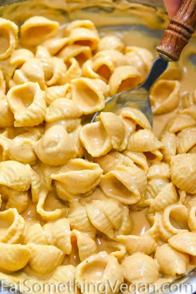 Cashew Cheese Sauce mixed with pasta