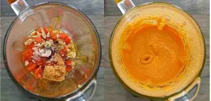 blending the sauce
