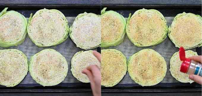 seasoning the cabbage steaks