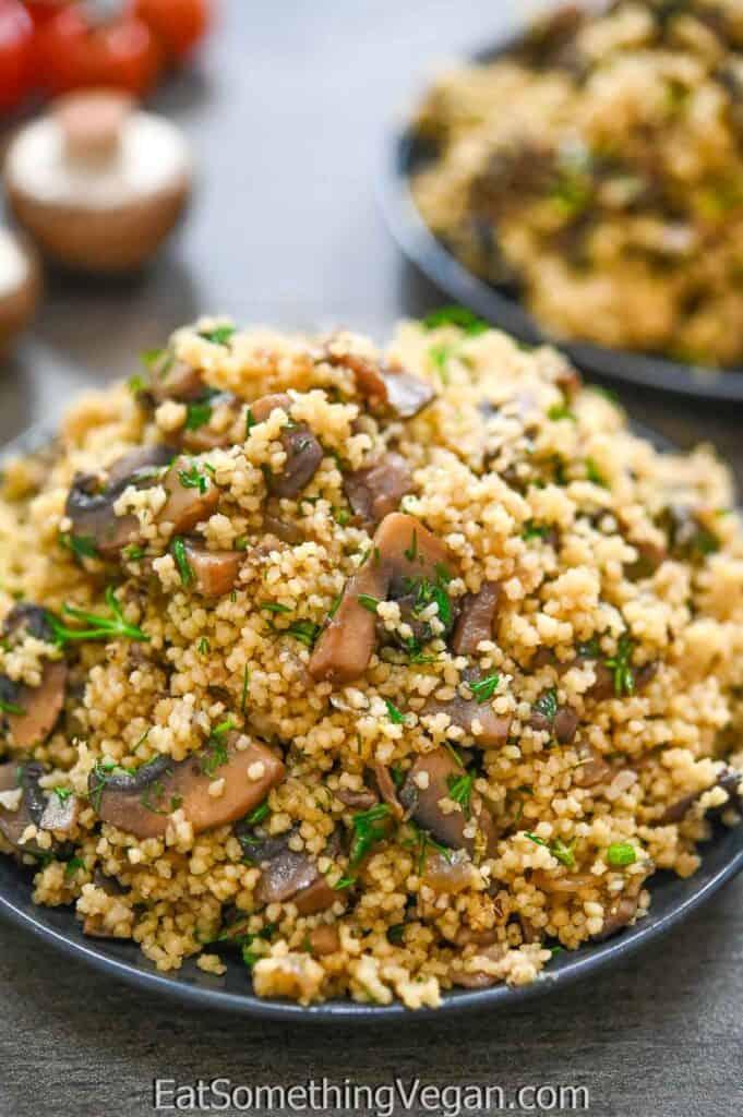 Mushroom Couscous on a plate