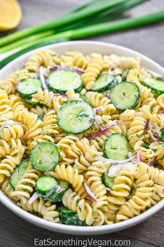 Cucumber Pasta Salad in a white bowl