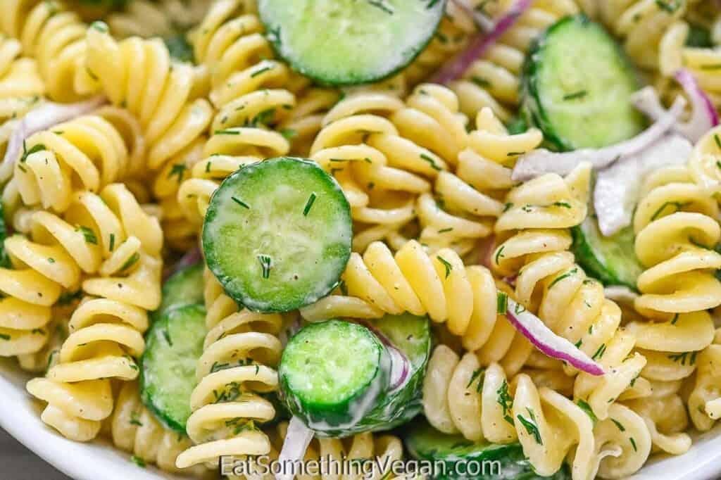 Cucumber Pasta Salad in a bowl