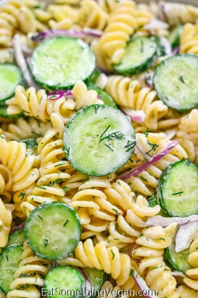 Cucumber Pasta Salad close up shot