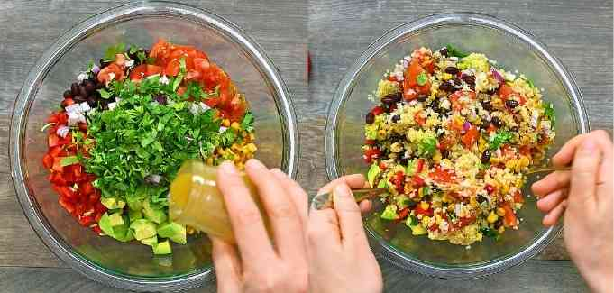 mixing the salad ingredients together